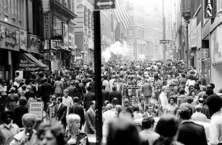 crowded street in NYC